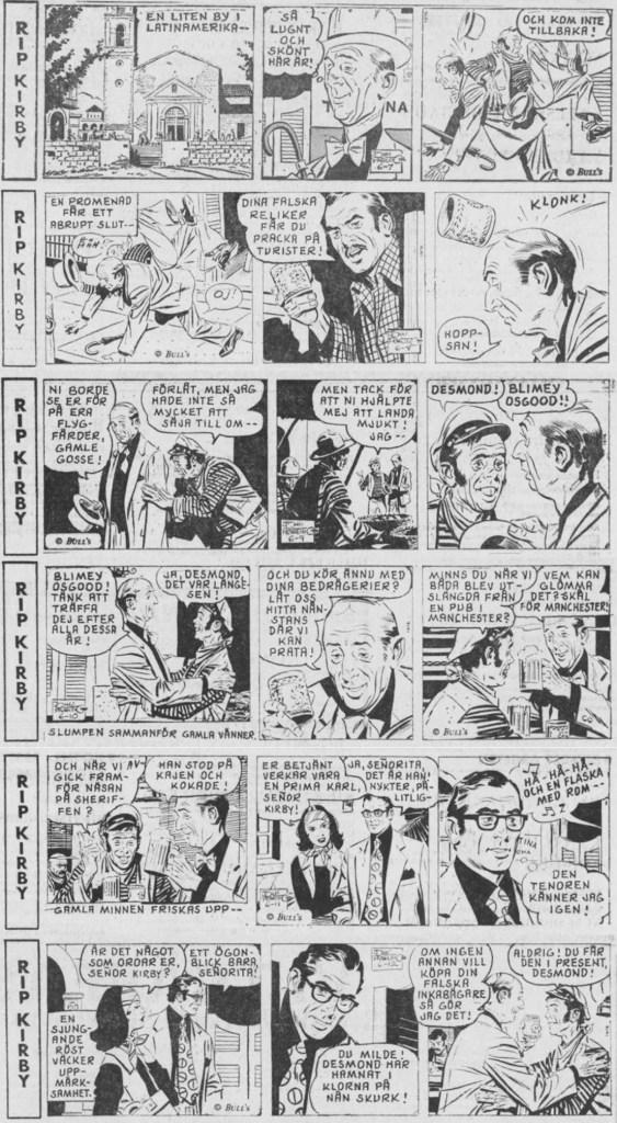 Rip Kirby ur DN 28 februari till 5 mars 1977, ursprungligen från 7-12 juni 1976. ©Bulls