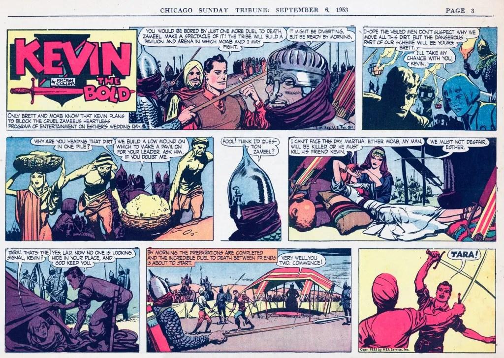 Motsvarande söndagssida (halvsida) med Kevin the Bold, från 6 september 1953. ©NEA