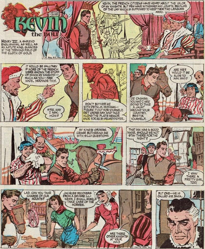Motsvarande söndagssida (helsida tabloid) med Kevin the Bold, från 8 juli 1962. ©NEA