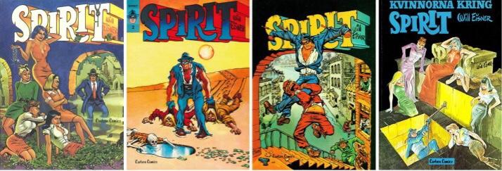 Omslag till fyra seriealbum, Spirit 1, Spirit 2, Spirit 3 och Spirit 4. ©Carlsen