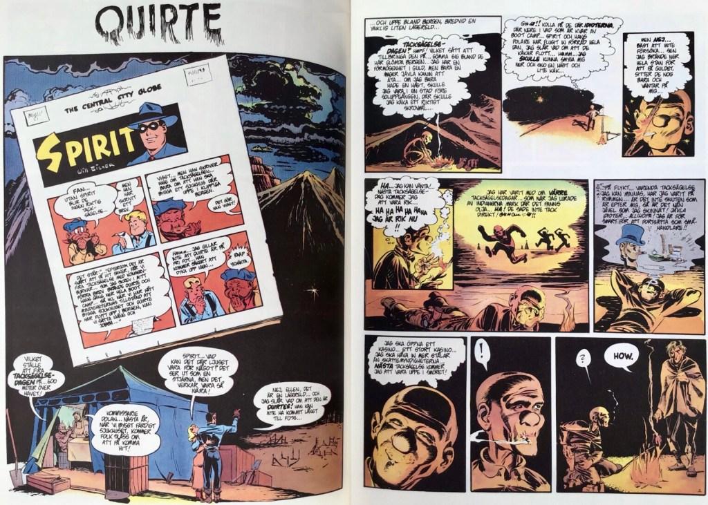 Inledande uppslag ur episoden Quirte i Spirit 5. ©Eisner