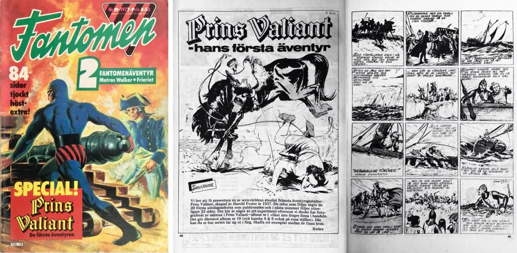 Omslag till Fantomen nr 19, 1977 och första uppslag med Prins Valiant. ©Semic/Bulls