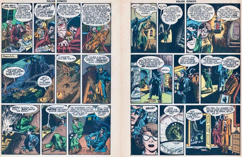 Ett till uppslag ur Spirit-episoden. ©Comic Magazines/Eisner