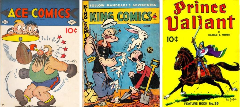 Omslag till Ace Comics #26, King Comics #146 och Feature Comics #26 (1939-41). ©McKay