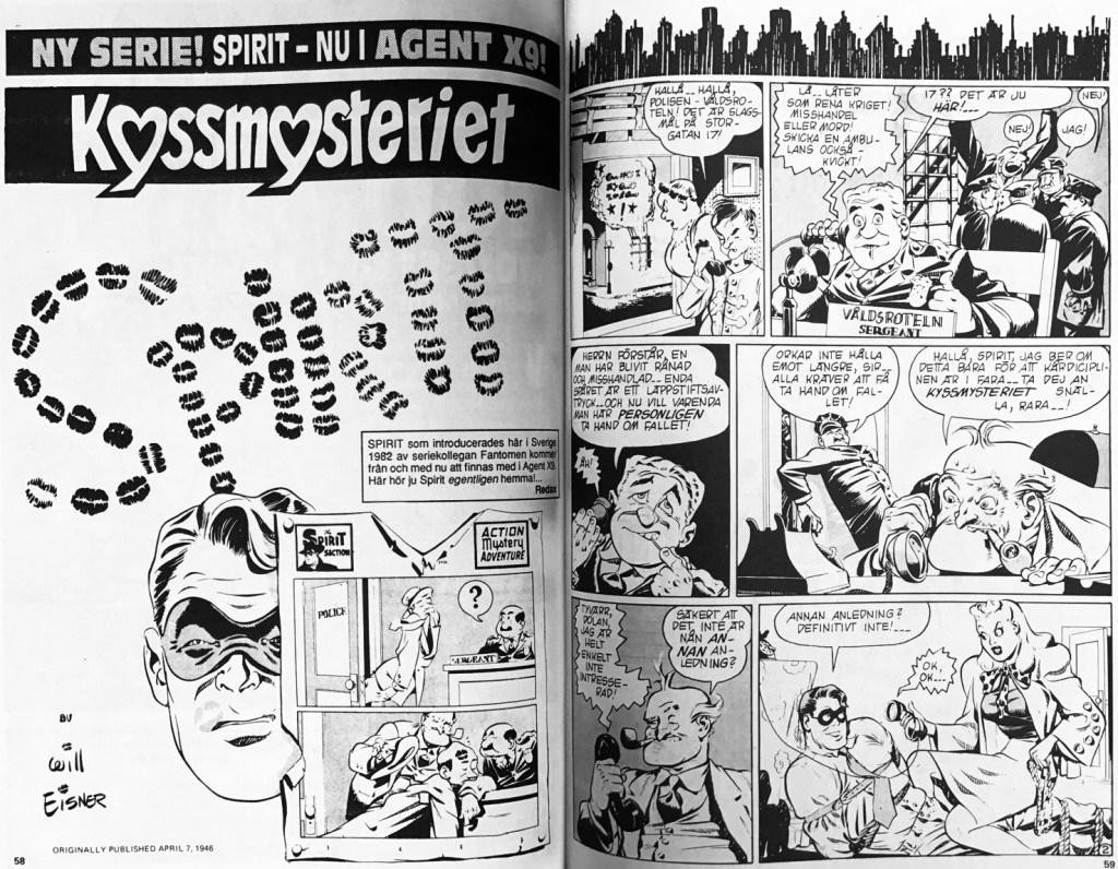 Inledande uppslag till Spirit #306, första Spirit-episoden ur Agent X9 nr 3, 1992. ©Bulls