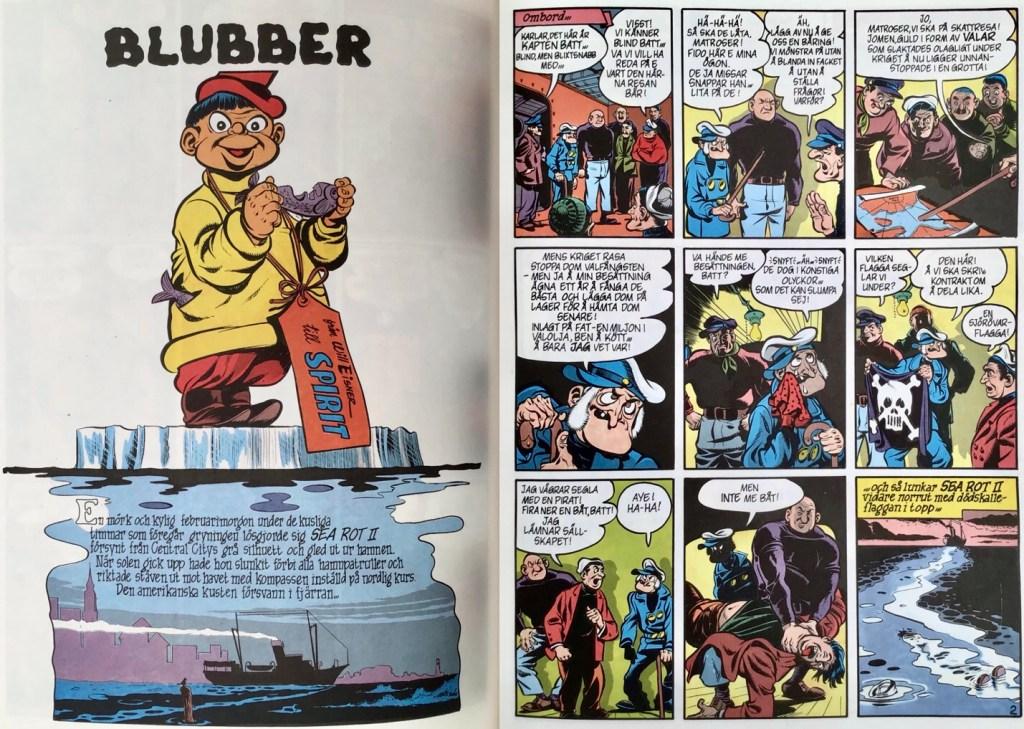Inledande uppslag ur episoden Blubber. ©Eisner
