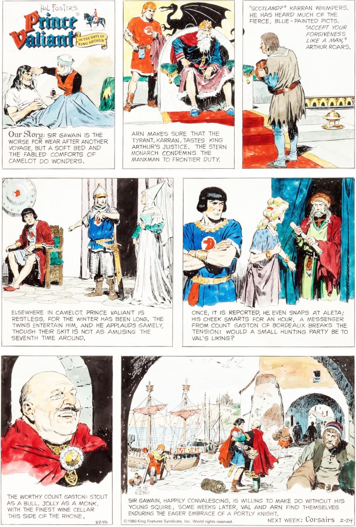 Prince Valiant-index: Söndagssidan #2246, från 24 februari 1980. ©KFS