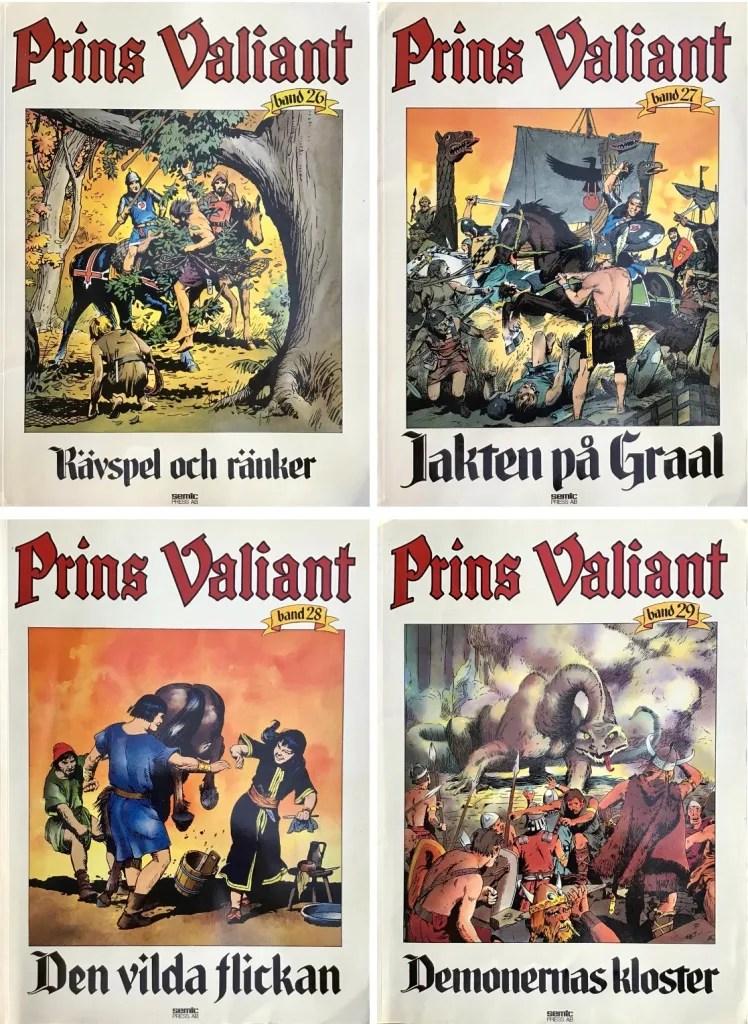 Prince Valiant-index: Prins Valiant seriealbum band 26-29 (1984-85) i extra stort format (25x34 cm). ©Semic