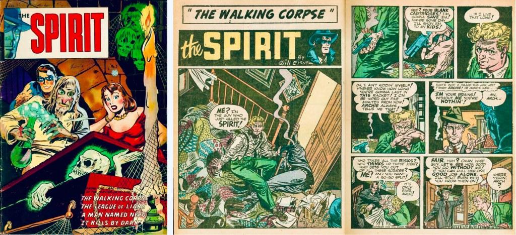 Omslag till The Spirit #3 (1952) och inledande uppslag ur Spirit-episoden. ©Fiction House/Eisner