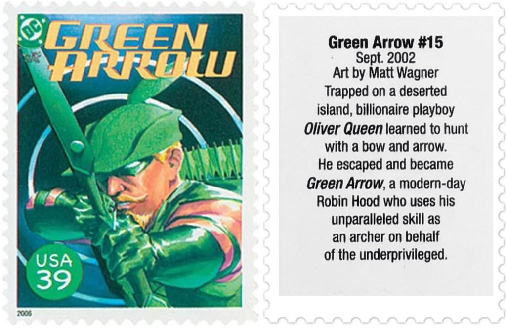 Frimärket med omslaget till Green Arrow #15 (2002). ©USPS/DC