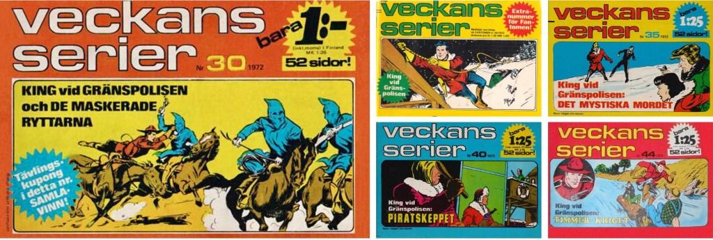 Veckans serier var en liten (18x13 cm) serietidning som utkom med 47 nummer 1972 och ett nummer 1973. Ett extranummer följde med Fantomen som bilaga. ©Semic