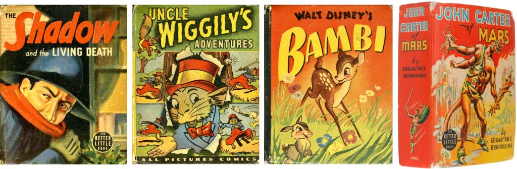 Omslag till Big Little Book #1430 Shadow and the Living Death (1940), #1405 Uncle Wiggily's Adventures (1946), #1469 Bambi (1942), #1402 John Carter of Mars (1940). ©Whitman