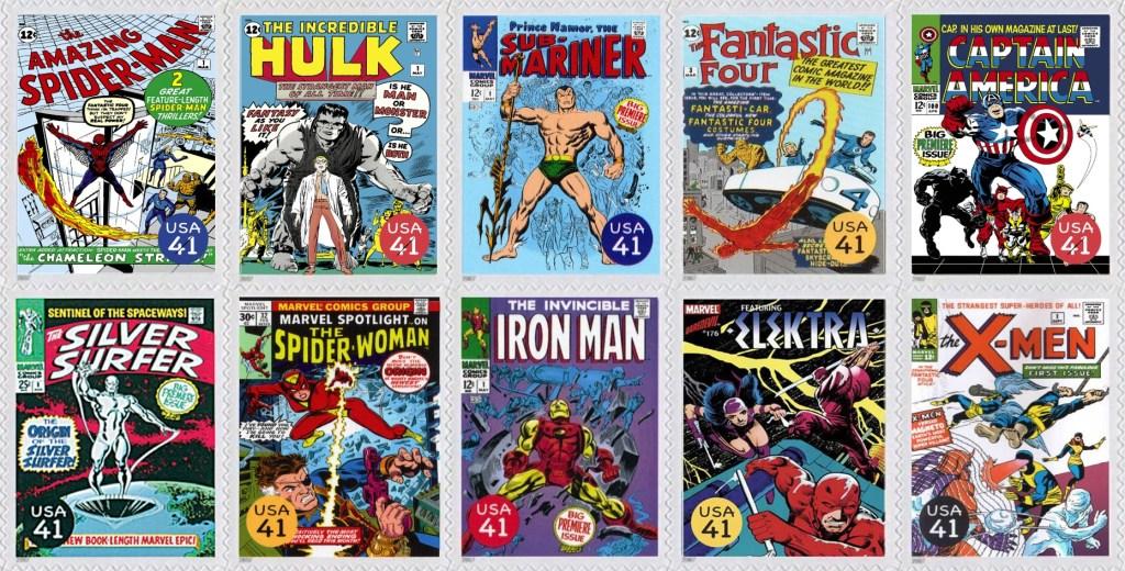 Nästa tio frimärkena visade omslag på serietidningar med Comics Super Heroes (2007). ©USPS/Marvel