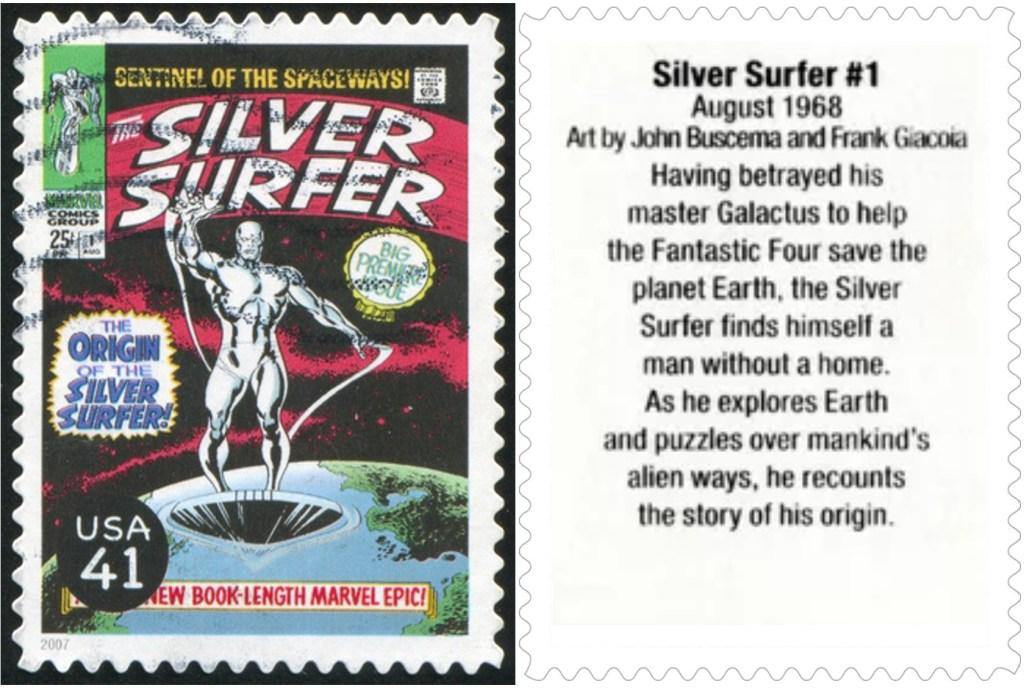 Frimärket med Silver Surfer #1 (1968). ©USPS/Marvel