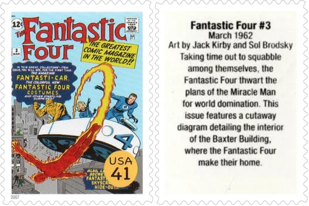 Frimärket med Fantastic Four #3 (1962). ©USPS/Marvel