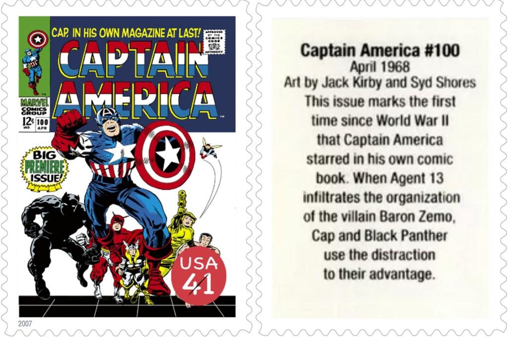 Frimärket med Captain America #100 (1968). ©USPS/Marvel