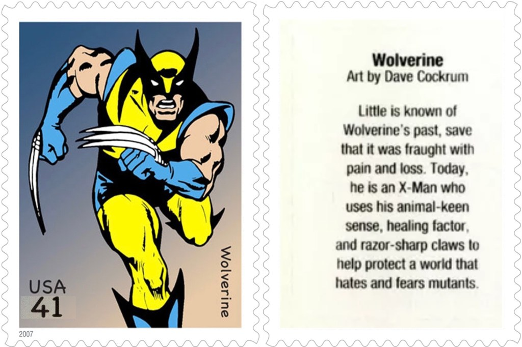 Frimärket med Wolverine (2007). ©USPS/Marvel