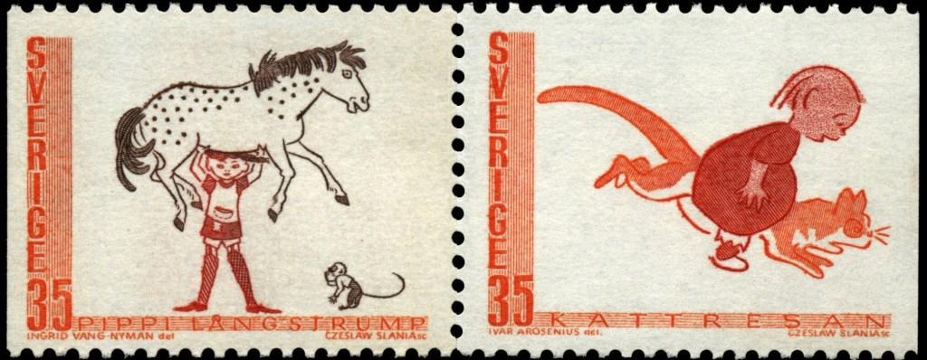 Pippi Långstrump och Kattresan var två frimärken med serieanknytning (1969). ©PostNord