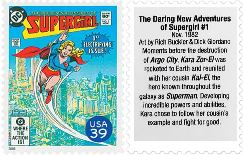 Frimärket med omslaget till The Daring New Adventures of Supergirl #1 (1982). ©USPS/DC