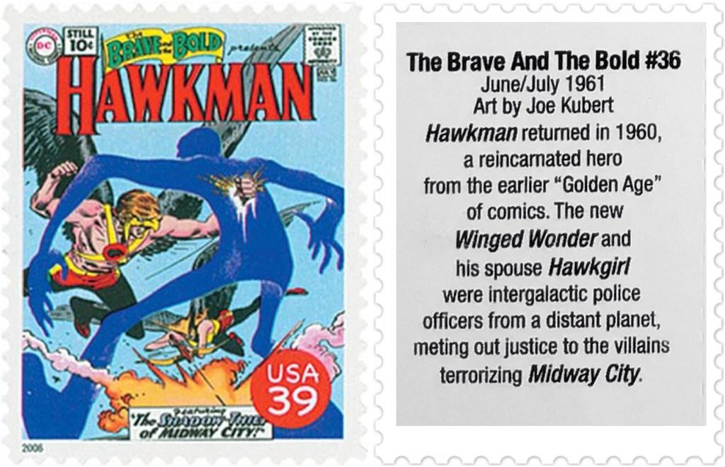 Frimärket med omslaget till The Brave and the Bold #36 (1961). ©USPS/DC
