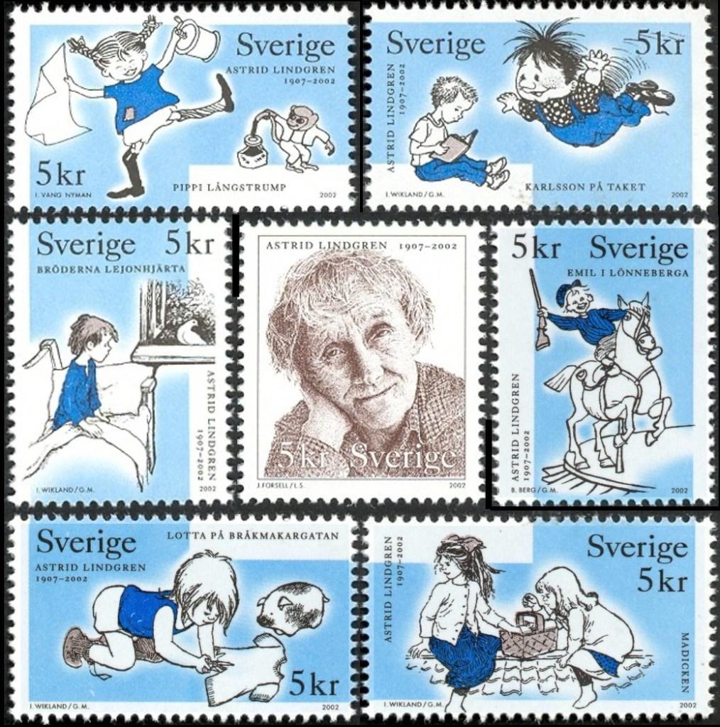 Pippi Långstrump, Karlsson på taket, Bröderna Lejonhjärta, Emil i Lönneberga, Lotta på Bråkmakargatan och Madicken tillsammans med Astrid Lindgren (2002). ©PostNord