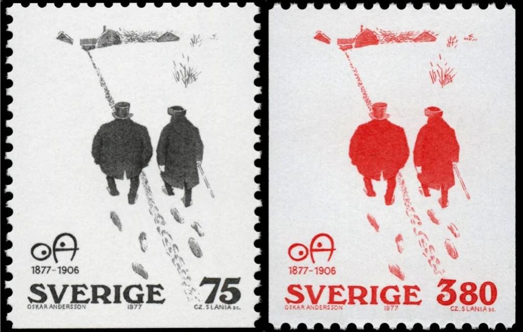Artighet av OA fanns i två olika valörer, svartvit och rödvit (1977). ©PostNord