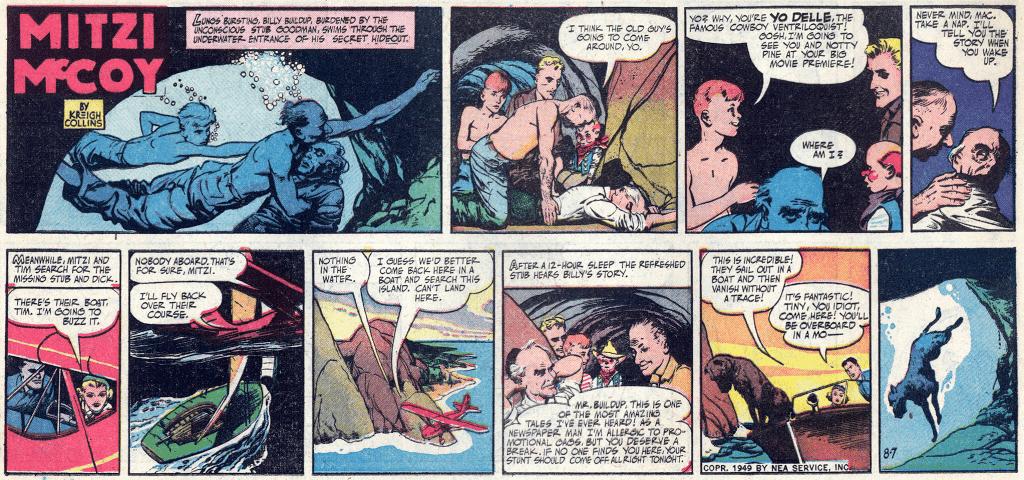 Söndagsserien från 7 augusti 1949 (tredjedelssida). ©NEA