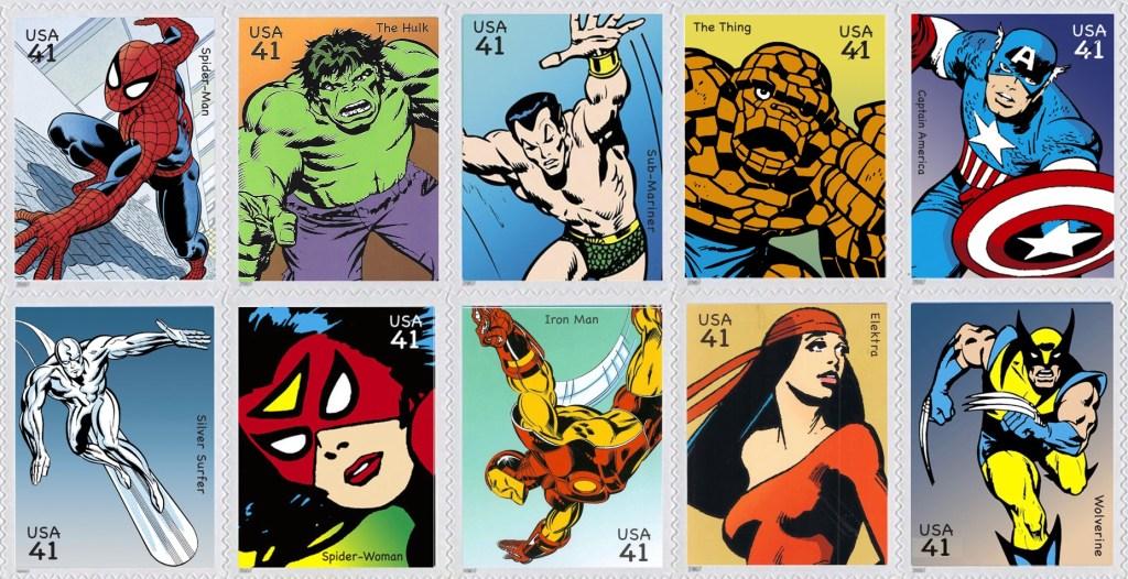 De första tio frimärkena med Comics Super Heroes (2007). ©USPS/Marvel