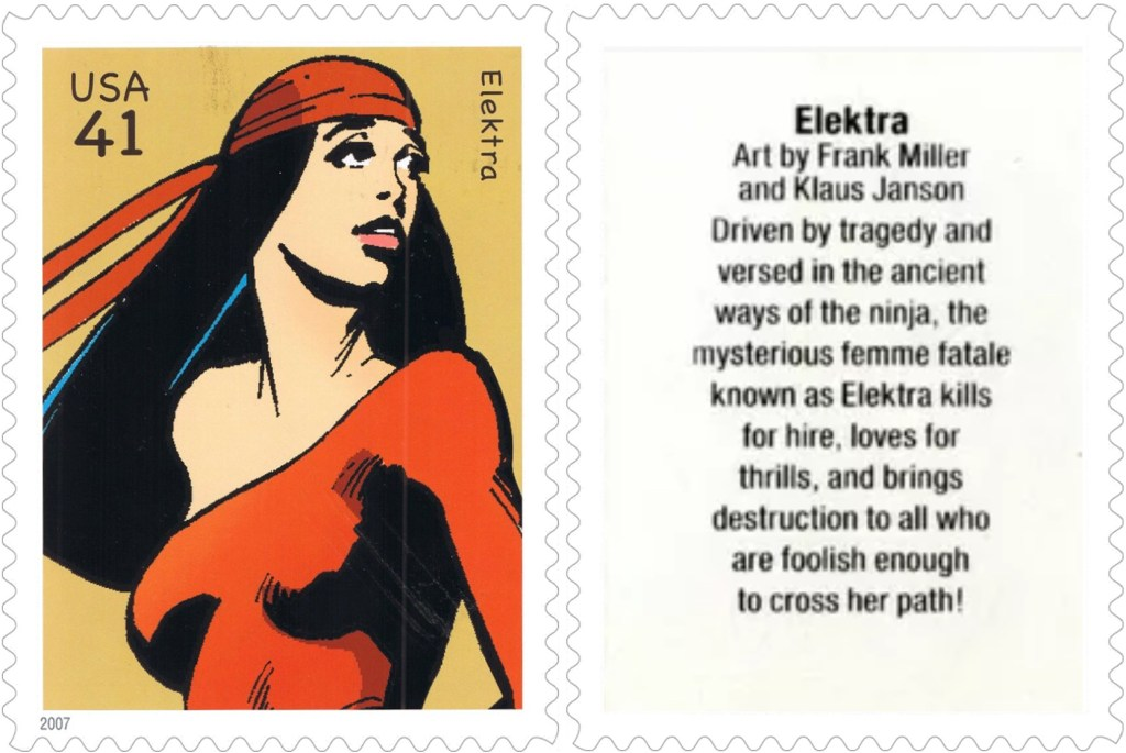 Frimärket med Elektra (2007). ©USPS/Marvel