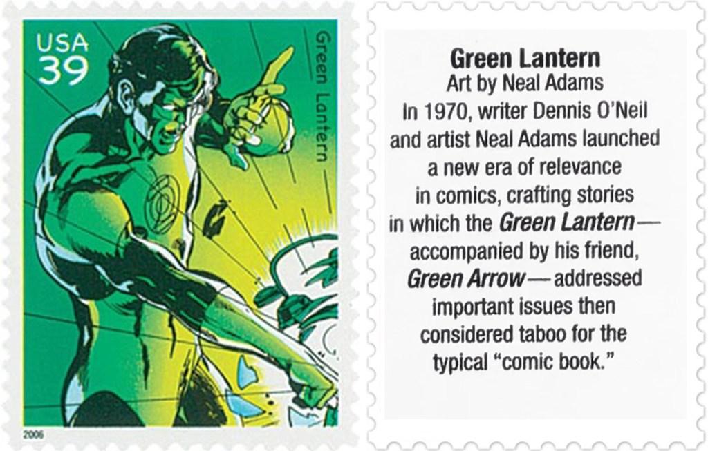 Frimärket med Green Lantern (2006). ©USPS/DC