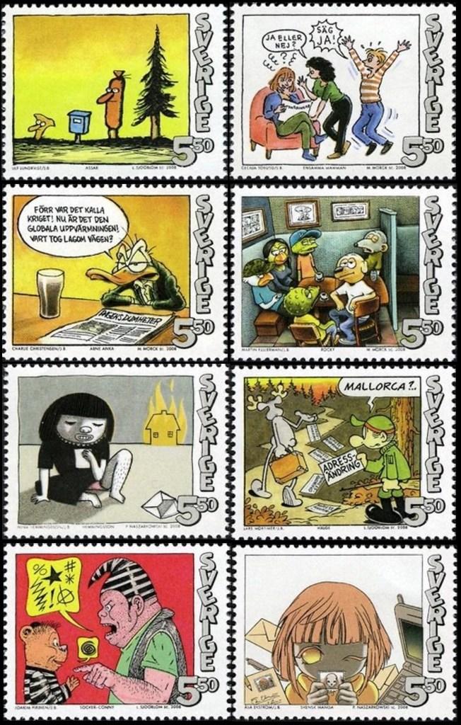 Assar, Ensamma Mamman, Arne Anka, Rocky, Enruting, Hälge, Socker-Conny och Svensk manga (2008). ©PostNord