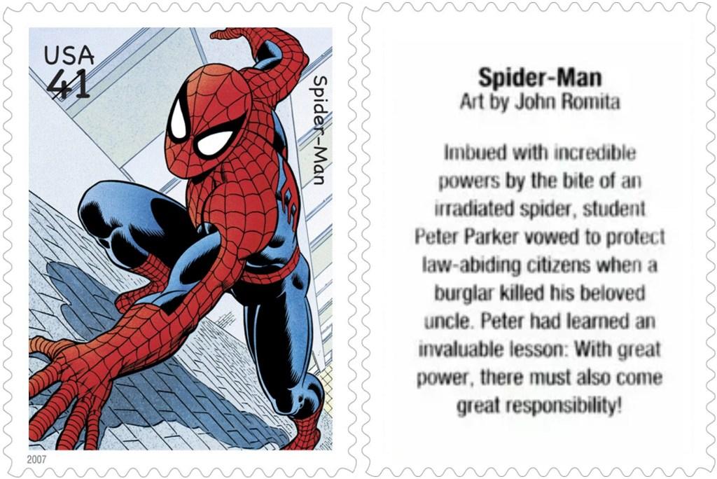 Frimärket med Spiderman (2007). ©USPS/Marvel
