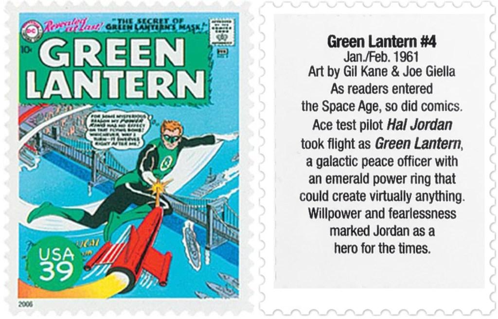 Frimärket med omslaget till Green Lantern #4 (1961). ©USPS/DC