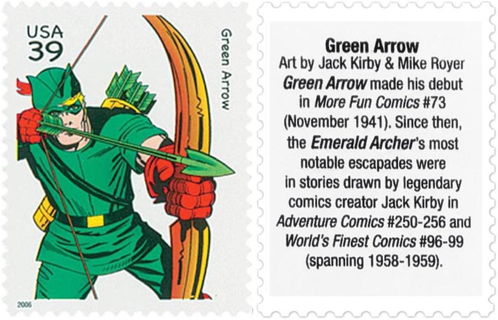 Frimärket med Green Arrow (2006). ©USPS/DC