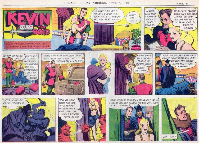 Söndagsserien i original (halvsida) från 24 juni 1951. ©NEA