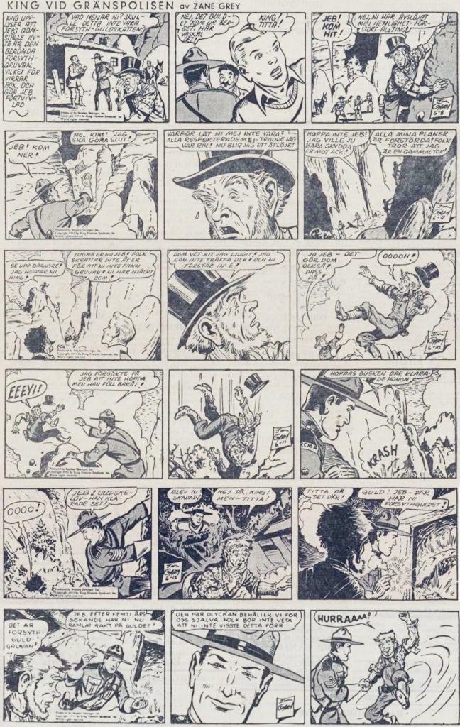 Sista veckans strippar i DN,signerade Jim Gary, ursprungligen från 8-13 juni 1953. ©Bulls