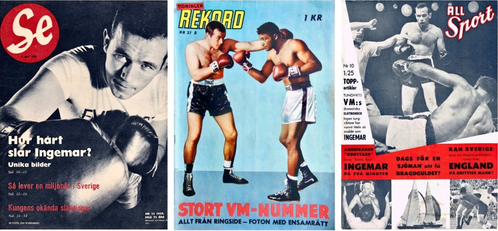 Omslag till Se nr 15, 1959, Rekordmagasinet nr 27B, 1959 och All Sport nr 10, 1959. ©Bonnier/Ahlqvist