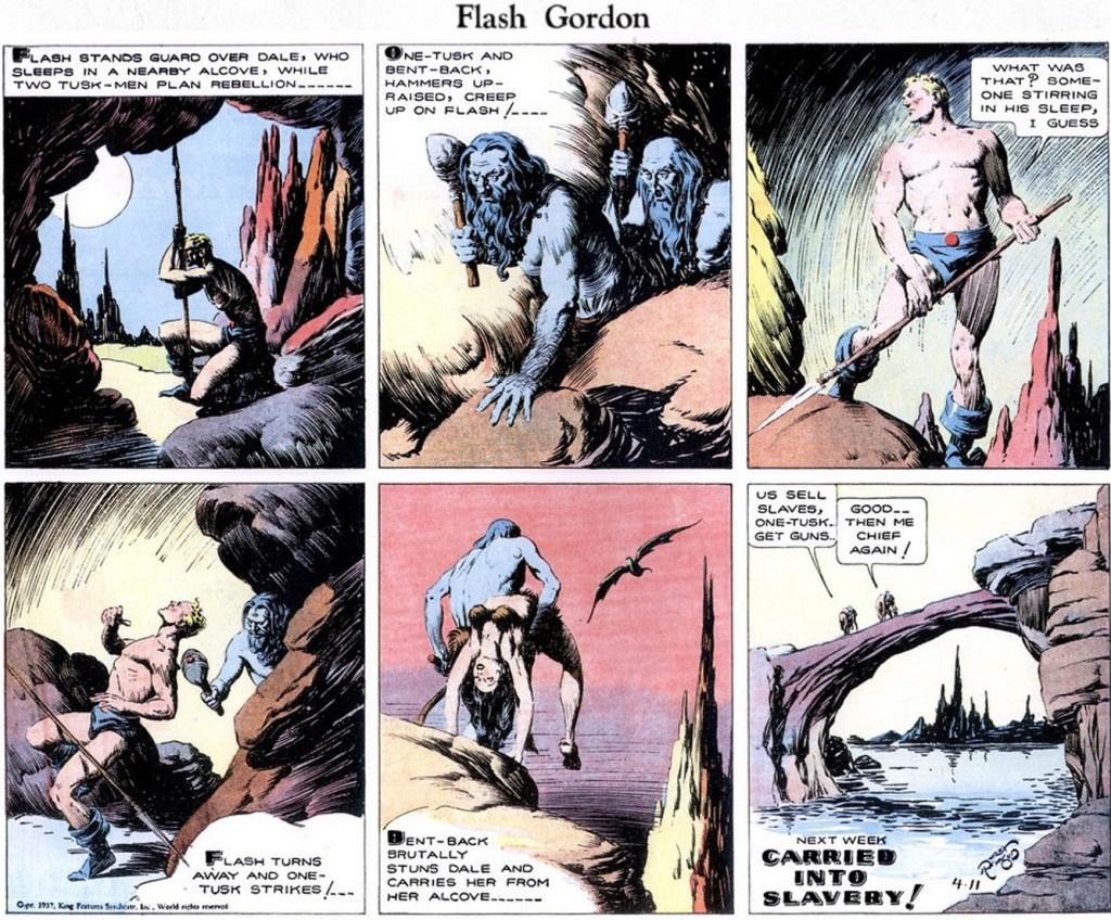 Motsvarande söndagsserie med Flash Gordon från 11 april 1937. ©KFS