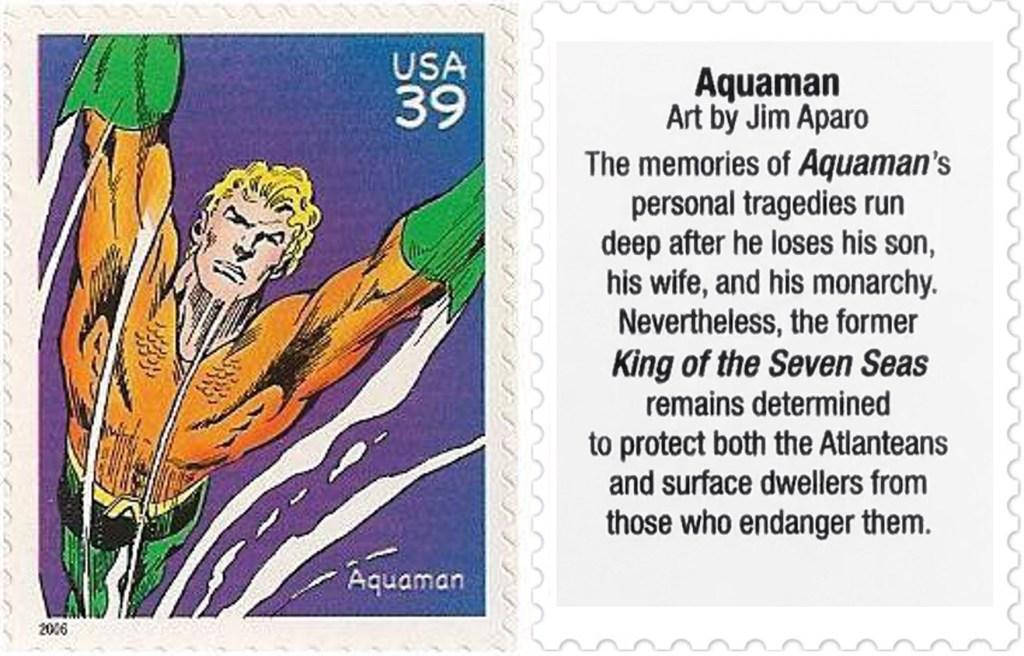 Frimärket med Aquaman (2006). ©USPS/DC