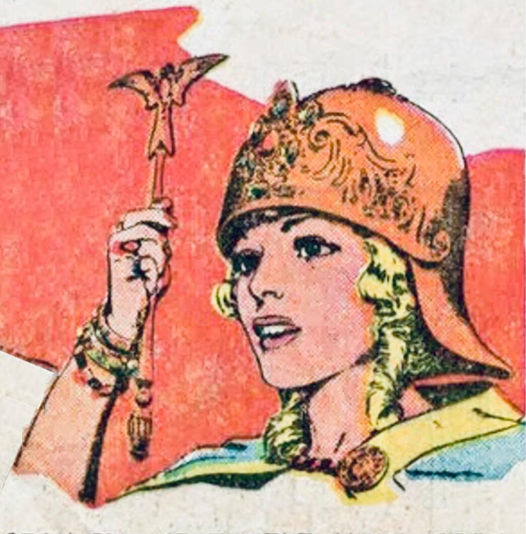 Aleta, drottning över de dimmiga öarna, är en mycket central figur i Prins Valiant-serien. ©KFS