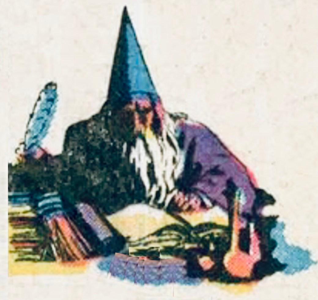 Trollkarlen Merlin var rådgivare åt kung Arthur, introducerad redan 19 juni 1937 (#19, se ovan), och hade en roll i flera äventyr med prins Valiant. ©KFS