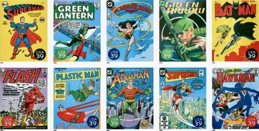 Nästa tio frimärkena visade omslag på serietidningar med DC Comics Super Heroes (2006). ©USPS