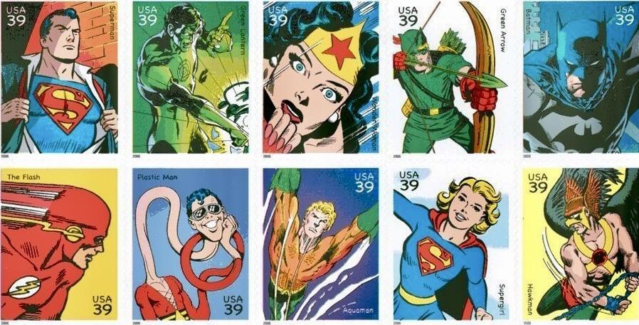 De första tio frimärkena visade DC Comics Super Heroes (2006). ©USPS