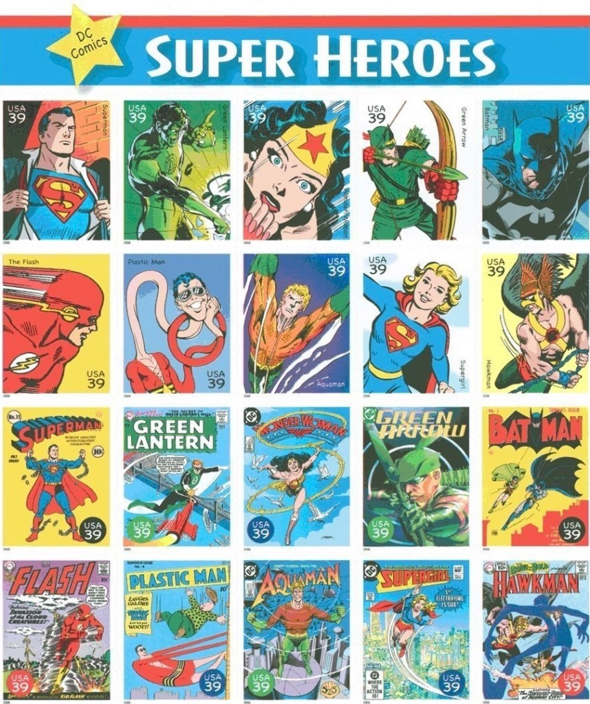 Det amerikanska postverket gav ut tjugo olika frimärken under den gemensamma titeln DC Comics Super Heroes (2006). ©USPS