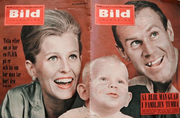 """Sven """"Tumba"""" Johansson med Mona och Tommie 1963. Han bytte efternamn till Tumba 1965. ©Bildjournalen"""