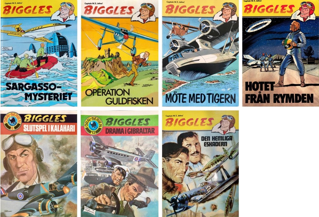 Seriealbum utkom med Biggles 1977-84 (varav två, nr 5 och 6, inom ramen för Örnserien).  ©Semic