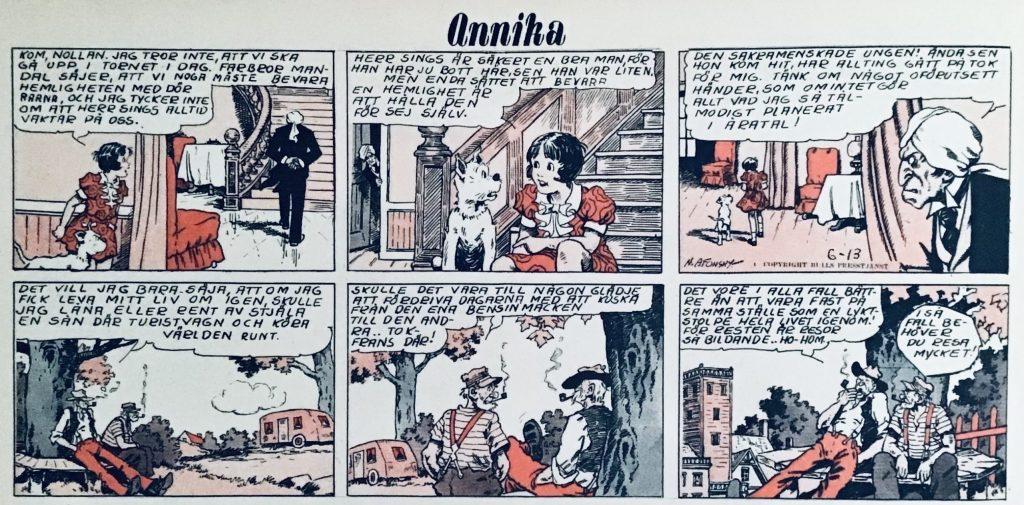En stripp med Annika ur Veckans serier nr 11, 1942, från söndagsserien 13 juni 1937 tecknad av Nick Afonsky. ©Bulls