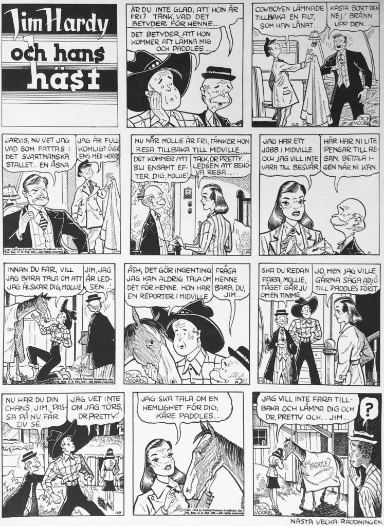 En sida med Jim Hardy och hans häst ur Veckans serier nr 20, 1943, ursprungligen dagsstrippar från 14-16 januari 1940. ©United Feature