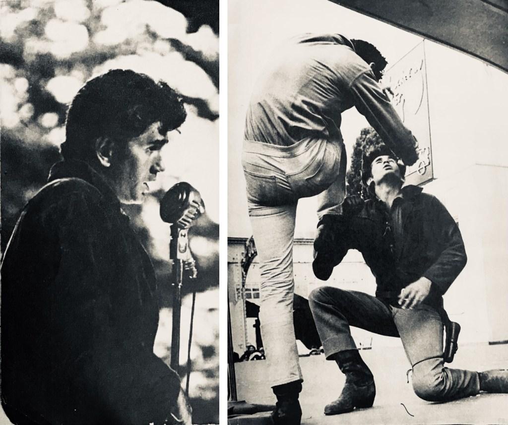 Under folkparksturnén 1962 sjöng Mike Landon Gimme a Little Kiss, Where Have all the Flowers Gone, Tom Dooley med mera, och bjöd på stuntslagsmål. ©Åhlén&Åkerlund