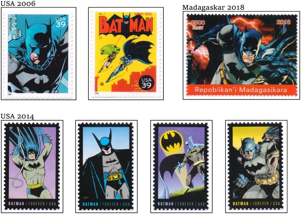 Några av de frimärken med Batman som är med i sammanställningen. ©Harnby/DC